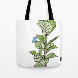 Lined Fig Tree and Blue Butterfly Tote Bag