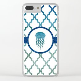 Jellyfish: Tropical Water Moroccan Pattern Clear iPhone Case
