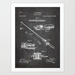 Fishing Rod Patent - Fishing Art - Black Chalkboard Art Print