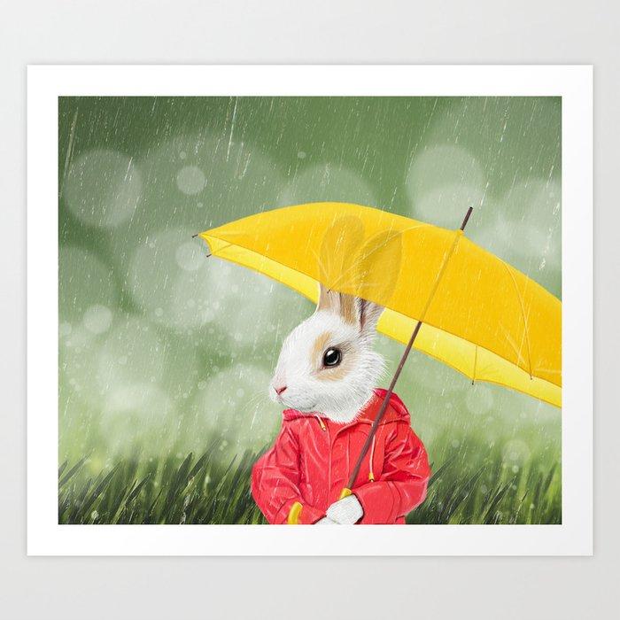 It's raining, little bunny! Art Print