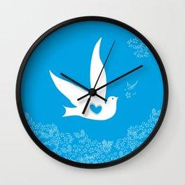 Wings of Love - Blue Wall Clock