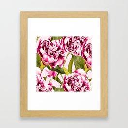 Peonies on a pastel pink background - #Society6 #buyart Framed Art Print