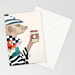 funny man (mink) in a fashion cap and coat with coffee Stationery Cards