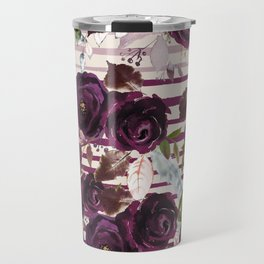 Watercolor ivory purple burgundy brown floral stripes Travel Mug