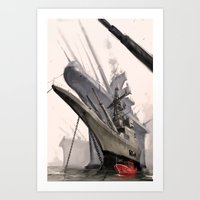 ships Art Prints featuring ships by Nathanaël Ferdinand
