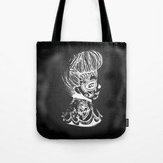 Pinup Day of the Dead Girl - Profile - Black and White Tote Bag