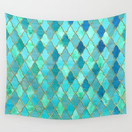 Aqua Teal Mint and Gold Oriental Moroccan Tile pattern Wall Tapestry