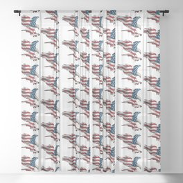 Patriotic Flying American Flag Eagle Sheer Curtain