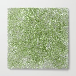 Splatter Painting with Pantone Green, Tan and White Metal Print