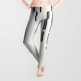 Abstract broken lines - black on off white Leggings