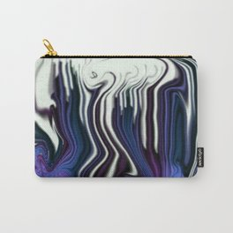 bluish purple and white line drip swirl Carry-All Pouch