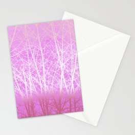 Frosted Winter Branches in Misty Pink Stationery Cards