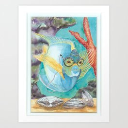 fish with glasses Art Print