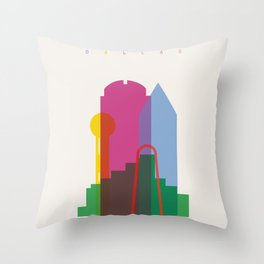 Shapes of Dallas. Accurate to scale. Throw Pillow