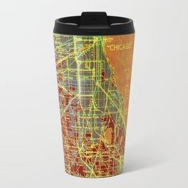 10-Chicago Illinois 1947, old map, orange and red Travel Mug