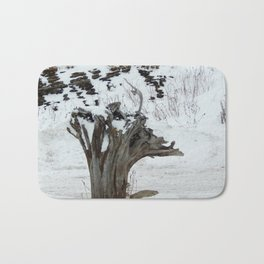Stumpy and the Rock Wall in Winter White Bath Mat