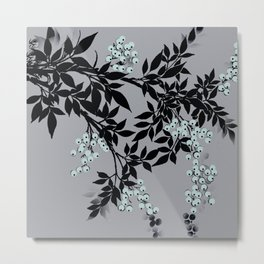 TREE BRANCHES BLACK AND GRAY WITH BLUE BERRIES Metal Print
