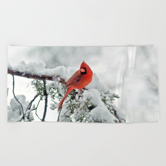 Cardinal on Snowy Branch #3 Beach Towel