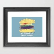 Veggie Burger (blue) Framed Art Print