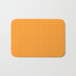 Orange Grid White Line Bath Mat