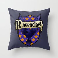 ravenclaw Throw Pillows featuring Ravenclaw Crest by AriesNamarie