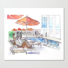 Lounging by the Pool Canvas Print
