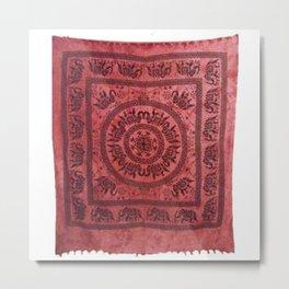 Red Elephant Printed Indian Tapestry Metal Print