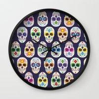 dia de los muertos Wall Clocks featuring Dia de los muertos by ewdondoxja