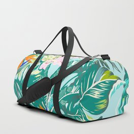 Bird of Paradise Hawaii Rainforest Tropical Leaves Pastels Duffle Bag