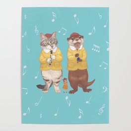 A GIRL WITH CAT and OTTER wide Poster