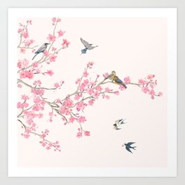Birds and cherry blossoms Art Print