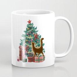 Naughty Orange Christmas Cat Coffee Mug