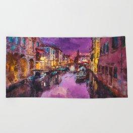 Twilight On Venice Canal Beach Towel