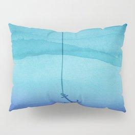 Cute Sinking Anchor in Sea Blue Watercolor Pillow Sham