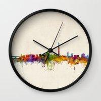 washington dc Wall Clocks featuring Washington DC Skyline Cityscpae by artPause