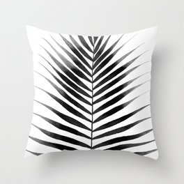 Palm Leaf Watercolor | Black and White Throw Pillow