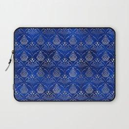 Hamsa Hand pattern -silver on blue glass Laptop Sleeve