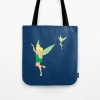 tinker bell Tote Bags featuring Tinker bell by Dewdroplet