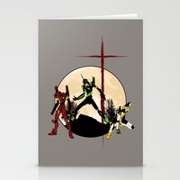 evangelion Stationery Cards featuring Neon Genesis Evangelion - Hill Top by kamonkey