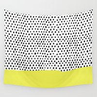 polka dot Wall Tapestries featuring Polka dot rain dip by Maiko Nagao