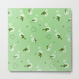 Green Orca Metal Print