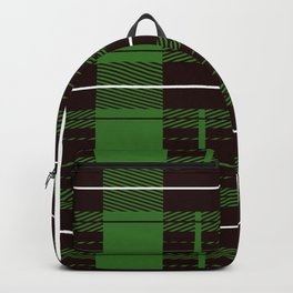 Brown And Green Flannel Pattern Backpack