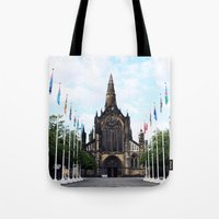 medieval Tote Bags featuring medieval glasgow by seb mcnulty