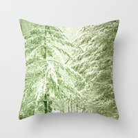 narnia Throw Pillows featuring Winter Pine Trees by Olivia Joy StClaire