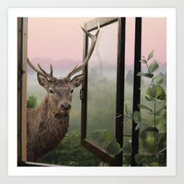 Hello, deer! - Artwork for adventure lovers featuring an outdoor dreamy fantasy scene with a deer po Art Print