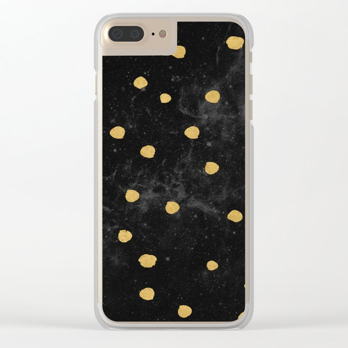 Gold Dots on Black Space Pattern Clear iPhone Case