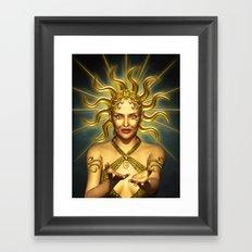 Beautiful golden sun goddess Framed Art Print