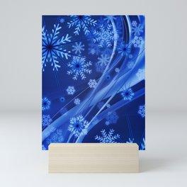 Blue Snowflakes Winter Mini Art Print