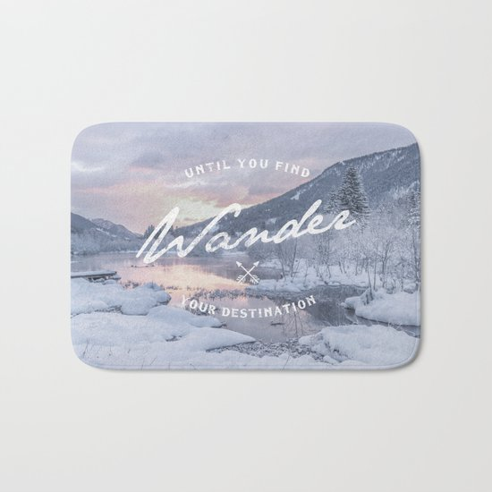 Wanderlust snow landscape winter sunset typography Bath Mat