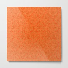 Orange and Gold Bandhani Bandhej Indian Textile Design Metal Print